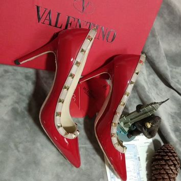 Valentino 2018 Women's Fashion Studded Pointed Flats High Heel Shoes F-OMDP-GD red