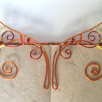 Firey Handmade Wire Wrapped Orange, Red & Yellow Elf Ear Cuffs With Swarovski Elements. Faery Earcuffs, Pixie Ear Cuffs LARP