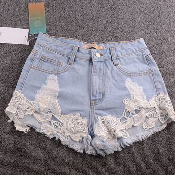 Elina's shop new fashion 2016 Women's Casual denim ripped hollow out lace crochet shorts jeans for women bottom s m l xl xxl