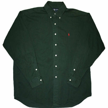 Vintage Forest Green Ralph Lauren Long Sleeve Button Down Shirt Mens Size Large