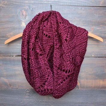 LMFGC4 knit leaf pattern infinity scarf (more colors)