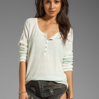 Free People Gold Rush Henley Sweater in Mint/White Combo from REVOLVEclothing.com