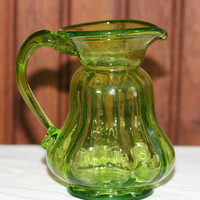 Vintage Small Green Art Glass Pitcher