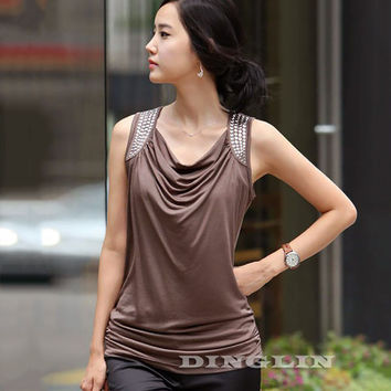 2017 New Korean Women Blouse Female Ladies Sleeveless Draped Rivet Slim Casual Summer Elastic Cozy Blouse Tank Tops Coffee 1357