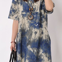 Blue Floral Print 3/4 Sleeve Summer Dress
