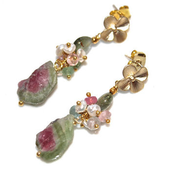 Rustic Watermelon Tourmaline Slice Earrings Rainbow Tourmaline Gold Vermeil Dangle Earrings Gemstone Jewelry
