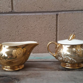 24K Gold Plated Sugar and Creamer Set McCoy