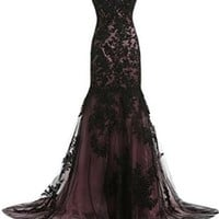 Sunvary Vintage Black Lace Applique Mermaid Mother of the Bride Dresses Long Formal Bridesmaid Prom Gowns US Size 2- Black