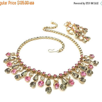 Hattie Carnegie Pink & Gray Demi Parure, Necklace and Earring Set, Gray Pink Clear Rhinestones, Vintage Wedding Jewelry, Designer Signed