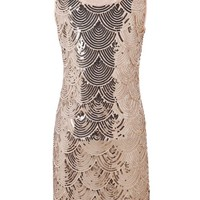KAYAMIYA Women's Art Deco Glitter Sequin Beaded Flapper Costume Dress S/M Beige