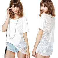 White Floral Lace Mesh Back Short Sleeve Loose Top