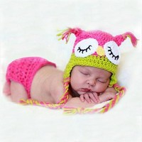 Whooo Do you see? Crochet Owl set for Newborn Baby Girl Photography Prop