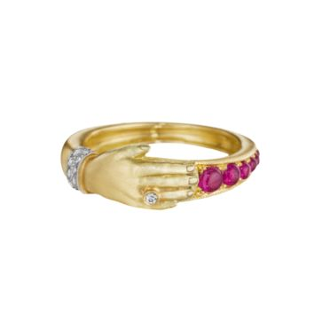 Yellow Gold, Diamond and Ruby Hand Ring