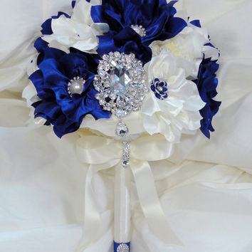 Bridal Brooch Wedding Bouquet Royal Sapphire Blue and Ivory Satin Flowers Elegant Statement Bouquet Not A Deposit In Stock