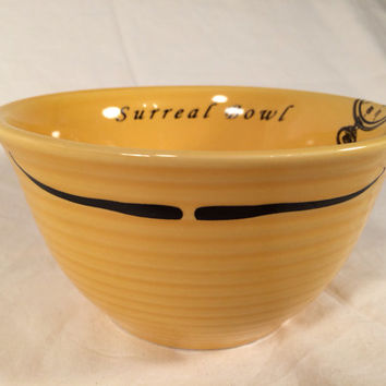 Funny Salvador Dali Surreal bowl yellow cereal bowl, inspired by Dali's persistence of memory