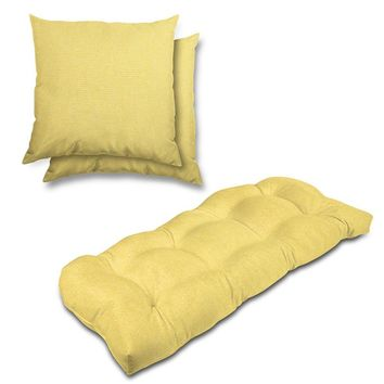 Stratford Home Indoor/ Outdoor Sunbrella Pillows and Bench Cushion Set (Buttercup)