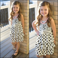 Lace and Polka Dot Dress Black