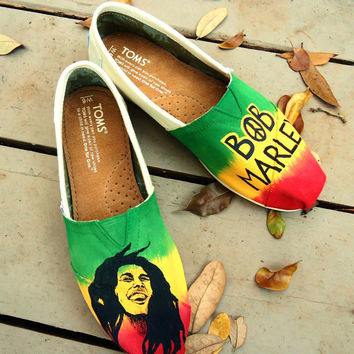 Bob Marley Themed TOMS by LamaLand on Etsy