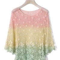 Dip Dye Crochet Mesh Mid-Sleeve Lace Top S010580