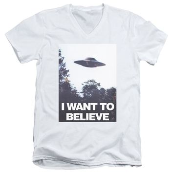 X Files - Believe Poster Short Sleeve Adult V Neck Shirt Officially Licensed T-Shirt