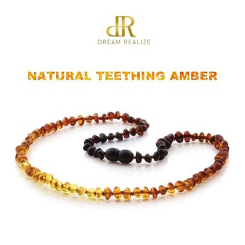Classic 10 Colors Original Amber Teething Necklace for Baby Lab Tested Authentic Natural Amber Stone Necklaces for Baby Jewelry
