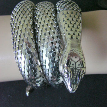 50s Vintage Egyptian Revival Whiting & Davis Mesh Snake Bracelet (Three Coils)