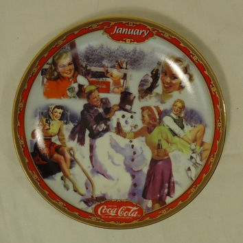 Bradford Exchange 18851A * Coca-Cola Collector Plate 5 3/4in January 1999 Porcelain  --