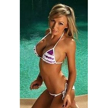 Purple w/ White Lace Triangle Top & Scrunch Bottom Bikini Set (Blue & Pink also available)