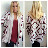 Dark Maroon Aztec Print Knit Sweater