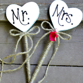 Mr & Mrs Heart Cake Topper ,  Rustic Wedding, Nautical Wedding Decoration  Hand Painted Design