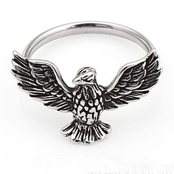 Size 4~9 Cute Live to Ride Eagle Ladies Ring 316L Stainless Steel Jewelry Biker Band Ring