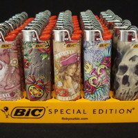 7 Bic Lighters Tattoo Designs Series Regular Size Disposable Lighter