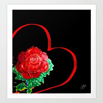 Heart of Rose Art Print by ES Creative Designs