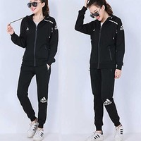 Adidas Women Men Couple Fashion Casual Sport Plus Velvet Zip Hooded Cardigan Jacket Coat Pants Trousers Set Two-Piece