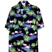 Pacific Legend Mens Pink Flamingo Paradise Shirt Black 2X