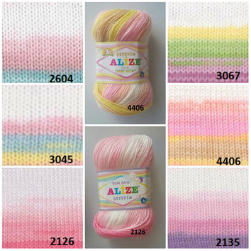 Baby yarn, Rainbow yarn, Self-striping yarn, Knitting yarn, Crochet yarn, Knitting supplies, Ombre  yarn, Alize baby yarn, Baby dress yarn