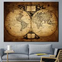 Antique map, World Map, Old World Map, Wall Art, World Map Print, Antique Map Canvas, print map, wall decor, office decor, picture card