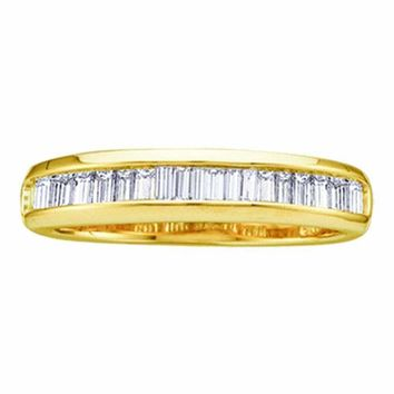 10kt Yellow Gold Women's Baguette Diamond Wedding Anniversary Band 1/6 Cttw - FREE Shipping (US/CAN)