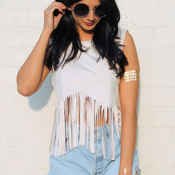Faux Suede Fringed Vest Top in Soft Stone