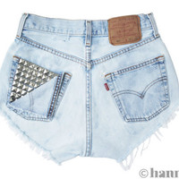"ALL SIZES ""PEEK"" Vintage Levi high-waisted denim shorts light blue studded pocket distressed frayed jeans"