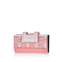 River Island Womens Pink jacquard print clip top purse