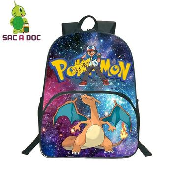 Women Backpacks Galaxy Universe Space  Charizard Printing Backpack Teenagers Kids School Bags Student  BookbagKawaii Pokemon go  AT_89_9