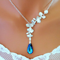 Wedding Necklace Bridal Necklace BERMUDA BLUE by InStyleBoutique