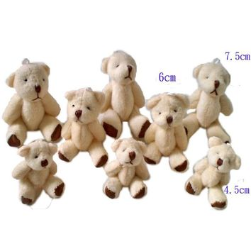 Small Teddy Bear Plush Toys Cute Mini Joint Bear Dolls DIY Wedding Party Decor Toy 4.5/6/7.5cm 50pcs/lot