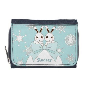 Cute Twin Bunnies and Snowflakes Kids Christmas Wallets