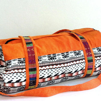 Duffle Bag for Men Women, Southwestern weekender bag, Hipster travel bag, Cute overnight bag, Cotton Sport Gym bag, Vibrant orange