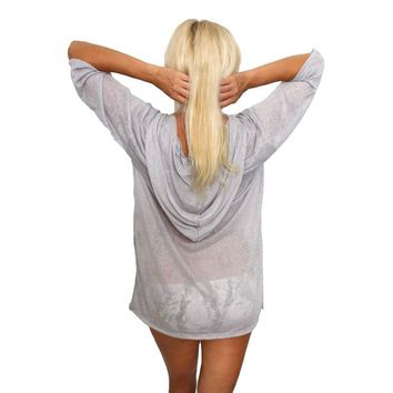 Women's V-Neck Hoodie Beach Dress Cover-Up Made in the USA