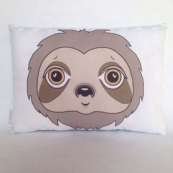 Sloth Cushion Sloth Pillow Softie Toy Cute Sloth Animal Stuffed Animal Gift Nursery Kids Illustration Print Home Decor Decorative Pillows
