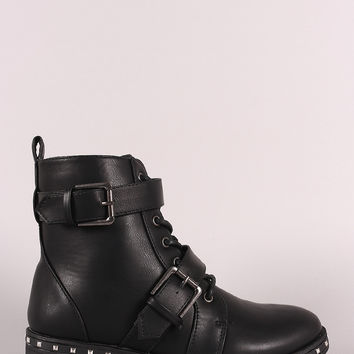 Qupid Studded Midsole Double Straps Combat Boots | UrbanOG