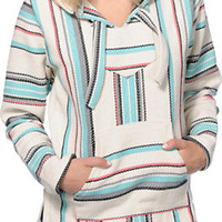 Senor Lopez Girls New Retro White, Coral & Mint Poncho at Zumiez : PDP